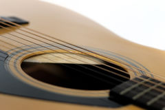 Detail of the acoustic guitar Royalty Free Stock Photos