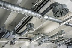Detail of the air conditioning on the ceiling stock photos