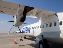 Detail of aircraft ATR 72, the airline UTair Royalty Free Stock Photography