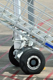 Detail of airport facility. Stair with wheel as facility for airport using, shown as working and operations in airport, detail of equipment and hardware, and Royalty Free Stock Photo