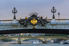 Detail of Alexander III bridge stock photography
