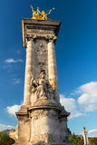 Detail of the Alexandre III bridge in Paris Stock Images