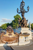 Detail of the Alexandre III bridge in Paris Stock Photo