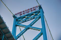 Detail of Ambassador Bridge connecting Windsor, Ontario to Detro Royalty Free Stock Photos