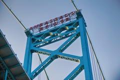 Detail of Ambassador Bridge connecting Windsor, Ontario to Detro Royalty Free Stock Photos