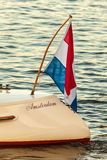 Detail of an Amsterdam classic canal boat during sunset Stock Photos