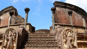 Detail of ancient buddhism temple. Detail of ancient historic  buddhism highest temple in  island country Sri Lanka Stock Image