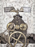 Detail of an ancient church clock. Retro styled image of a part of an ancient church clock with gears and chains Royalty Free Stock Photo