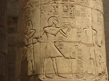 Detail of the ancient column. Hypostyle Hall at the Temple of Karnak Royalty Free Stock Images