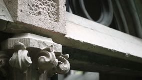 Detail of ancient family crypt in graveyard stock video footage