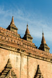 Detail of ancient Htilo Minlo pagoda at dawn with blue sky Royalty Free Stock Photos