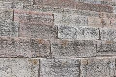 Detail of the ancient limestone steps of Roman Arena Stock Image