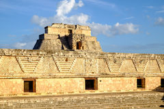 Detail of ancient Mayan architecture in Uxmal archeological site Royalty Free Stock Photography