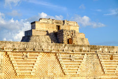 Detail of ancient Mayan architecture in Uxmal archeological site Royalty Free Stock Photo