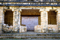 Detail of ancient Mayan stone wall ruins Royalty Free Stock Images