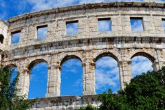 Detail of ancient Roman amphitheater in Pula, Croatia Stock Photos
