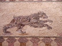 Detail of an ancient roman floor mosaic with the image of a hunting bear from the archeological ruins known as the house of. Dionysus at paphos cyprus stock images