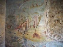 Detail of ancient roman fresco in Casa della Fontana Piccola, Po stock images