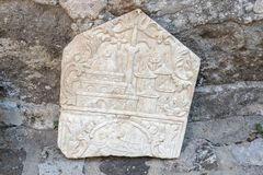 Detail of an ancient Roman marble sculpture in Bodrum. Detail of an ancient Roman marble sculpture or engraving in Bodrum Castle, Turkey stock image