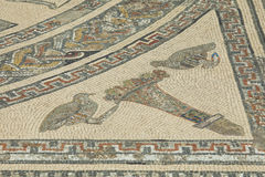 Detail of ancient Roman mosaic at Volubilis. Morocco. Volubilis - archaeological site is on UNESCO World Heritage List. Fragment of Roman mosaic of Orpheus Stock Photography