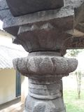 Detail of ancient ruined flower model stone pillar stock images