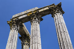 Detail of ancient temple of Evora. With blue sky Royalty Free Stock Photos