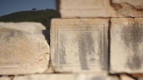 Detail from ancient temple at Patara, Likya, Turkey stock video footage
