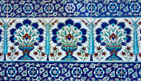 Detail of ancient wall tiles Istanbul, Turkey. Royalty Free Stock Photo