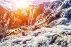 Free Detail And Close Up Of Waterfall In Sunlight Royalty Free Stock Photography - 192834257