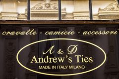 Andrews ties store, Italy. Detail of Andrew`s tie store in Milan, Italy. It is an italian fashion company founded at 2010 stock image