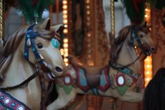 Antique carousel with horses, Italy. royalty free stock images