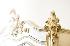 Detail of an antique italian furniture just restored. New life to old furniture - sepia toned royalty free stock photos