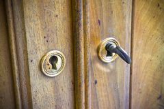 Detail of an antique italian furniture with keys in the foregrou. Nd Stock Image