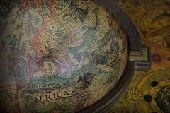 Antique terrestrial globe Stock Photos