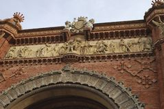 Detail on Arc de Triomf. Barcelona. Spain Royalty Free Stock Photos