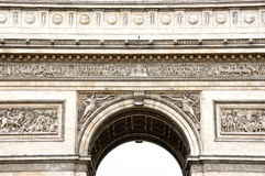 Detail of Arc de Triomphe. Close-up view from below of Arc de Triomphe stone decorations Stock Photo