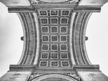 Detail of the Arc de Triomphe in Paris. View of the decorated ce. Detail of the Arc de Triomphe in Paris. Bottom view of the decorated ceiling Royalty Free Stock Photos