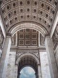 Detail of the Arc de Triomphe in Paris. View of the decorated ce. Detail of the Arc de Triomphe in Paris. Bottom view of the decorated ceiling Stock Photos