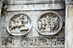 Detail from The Arc of Emperor Constantine. Detail The Arc of Emperor Constantine, Roman Forum, Rome, Italy Royalty Free Stock Photography