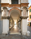 Detail of the arcades of the medieval town of Montagnana. Stock Images