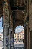 Detail of the arcades of the medieval town of Montagnana. Stock Photo