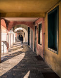Detail of the arcades of the medieval town of Montagnana. Royalty Free Stock Photo