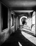 Detail of the arcades of the medieval town of Montagnana. Stock Photography