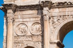 Detail of the Arch of Constantine near the Roman Colosseum, land Stock Images