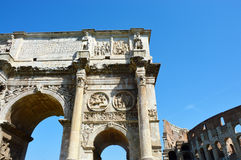Detail of the Arch of Constantine, Rome, Italy. Arco di Costantino Stock Photography