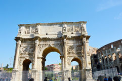 Detail of the Arch of Constantine, Rome, Italy Arco di Costantino.  Royalty Free Stock Images
