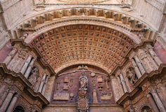 Detail of the arch of entrance of the cathedral of Mallorca Stock Images