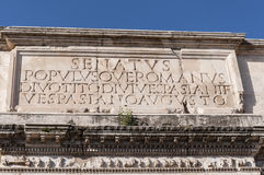 Detail of The Arch of Titus. Stock Photos