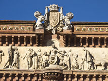 Detail of the arch of triumph, Barcelona. Stock Photos