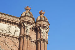 Detail of Arch of Triumph monument located in Barcelona, Catalon. Ia, Spain, on a sunny day Royalty Free Stock Image